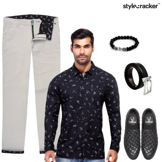 Print Shirt Chinos SlipOns DateNight - StyleCracker