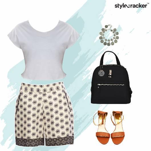 Casual CropTop Printed Shorts Backpack - StyleCracker