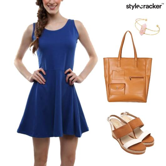 Skater Dress Casual Wedges Tote  - StyleCracker