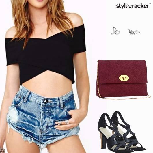 Croptop Pencilskirt Heels Slingbag Brunch - StyleCracker