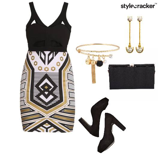 Bodycon Dress Cutout Printed peeptoes Clutch  Party - StyleCracker