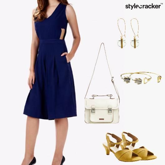 Jumpsuit KIttenheels Slingbag Bracelet Earrings Party - StyleCracker