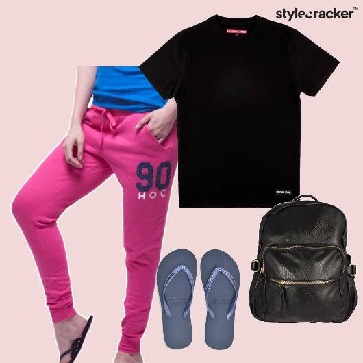 Tshirt Trackpants Flipflops Backpack Casual - StyleCracker