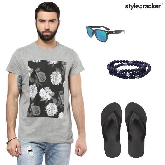 Tshirt Denims Flipflops Sunglasses Casual - StyleCracker