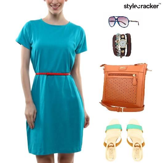Casual Dress SlingBag Studded Watch - StyleCracker