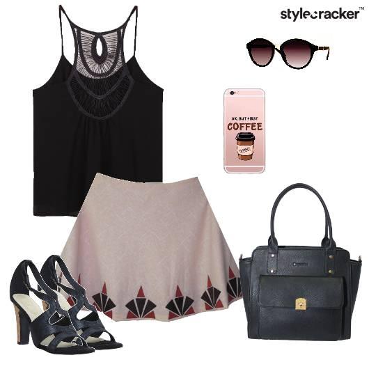 CamiTop Skirt HandBag SkaterSkirt Casual Shopping - StyleCracker