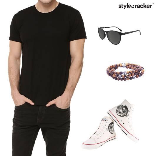 Tshirt shorts Hightops Sunglasses Casual - StyleCracker