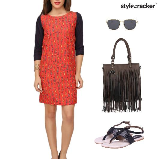 Printed Dress Fringe Bag Flats - StyleCracker