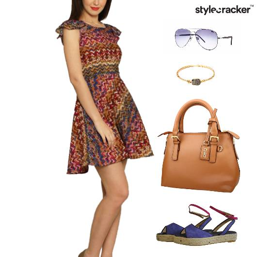 Printed Dress Flats Accessories Lunch - StyleCracker