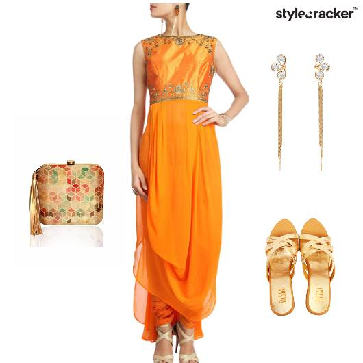 Contemporary Indian Festive Orange Gold - StyleCracker
