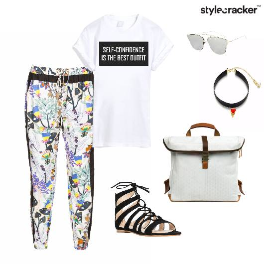 Tshirt Trousers Sandals Backpack Casual - StyleCracker