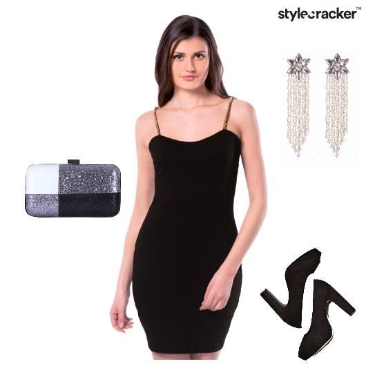 Party Black Bling Clutch Pumps - StyleCracker