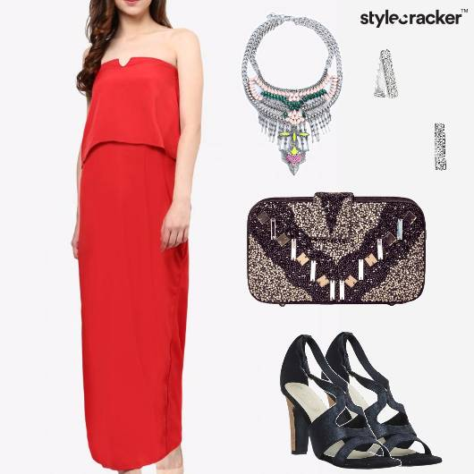Dress Neckpiece Clutch Earrings Chic Party  - StyleCracker