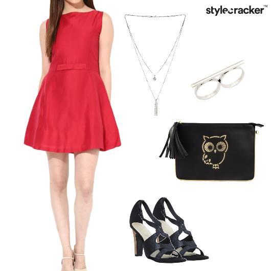 Dress FitAndFlare Heels Clutch Party - StyleCracker