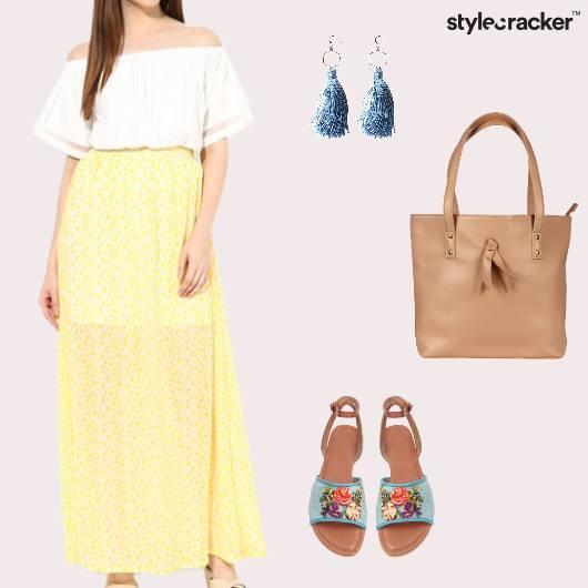 Offshoulder Maxiskirt Sandals Totebag Tassels Casual - StyleCracker