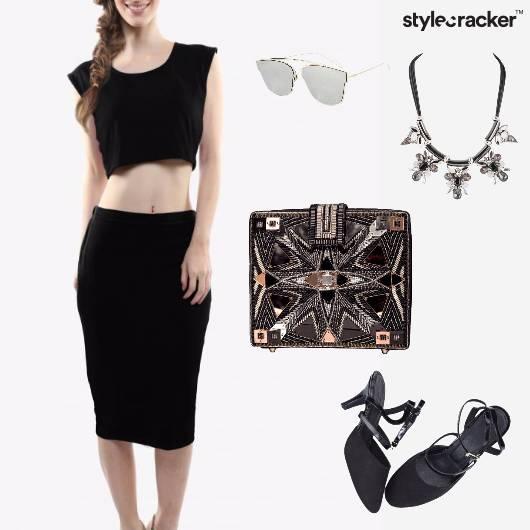 Croptop Skirt Clutch Neckpiece Chic Party - StyleCracker