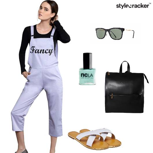 Jumpsuit Croptop Flats Backpack Casual - StyleCracker