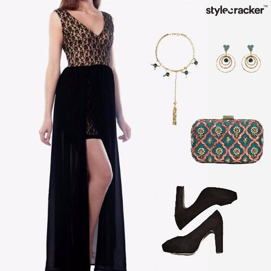SlitDress Pumps Clutch Neckpiece Glam Prom - StyleCracker