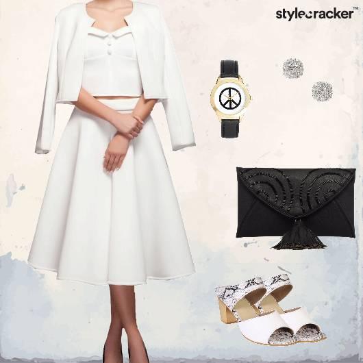 Midiskirt Croppedjacket Croptop Dinner Allwhite - StyleCracker