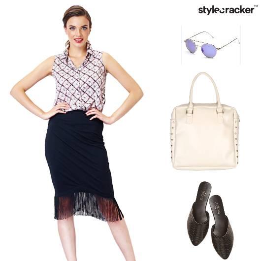 Shirt FringeSkirt Totebag Slipons Shopping - StyleCracker