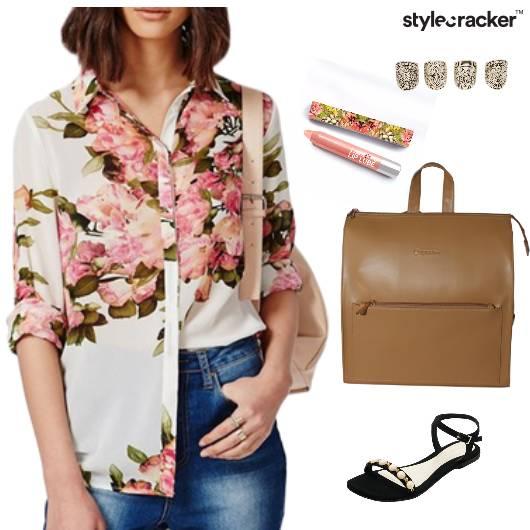 Shirt DenimSkirt Backpack Sandals Lipbalm College Casual - StyleCracker