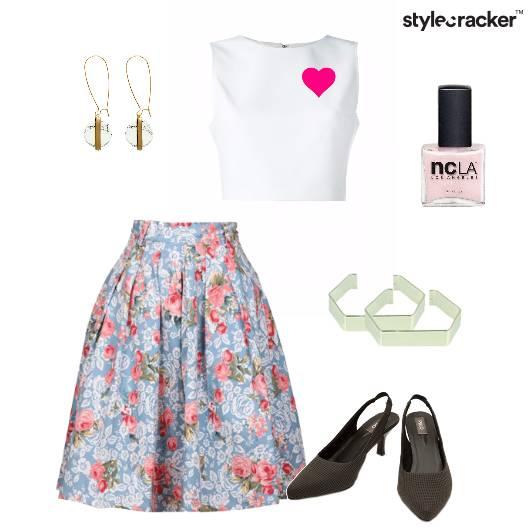 Croptop Skirt Kittenheels Brunch Florak - StyleCracker