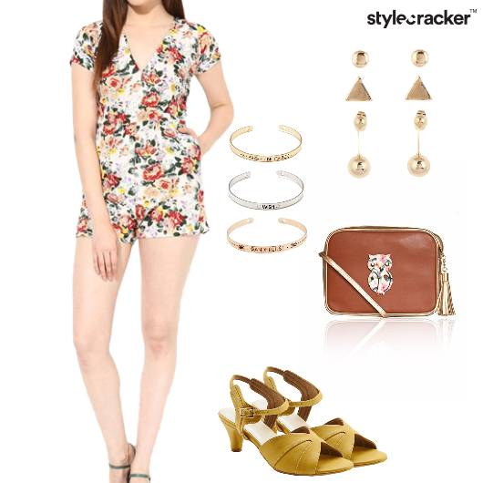 Playsuit Heels Slingbag Floral Casual - StyleCracker