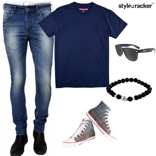 Tshirt Jeans HIghtops BeadedBracelet Casual - StyleCracker