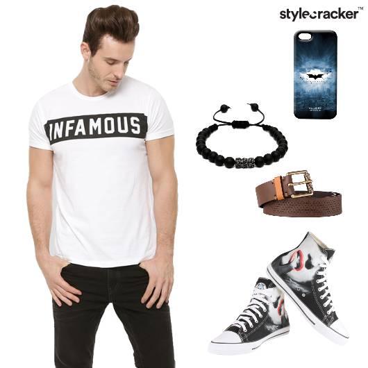Tshirt Chinos Hightops BeadedBracelet Casual - StyleCracker