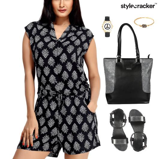 Prined Playsuit Flats Lunch Accessories - StyleCracker