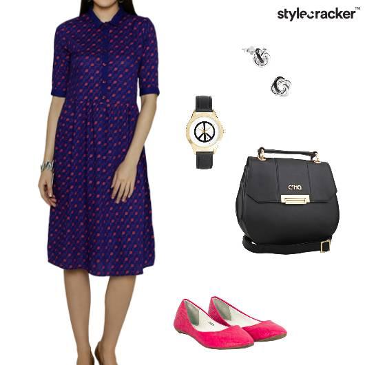 Shirtdress Flats Sling Watch Work - StyleCracker