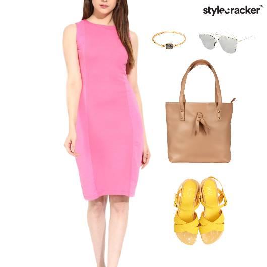 Bodycon Dress Wedge Footwear Tote Bag - StyleCracker