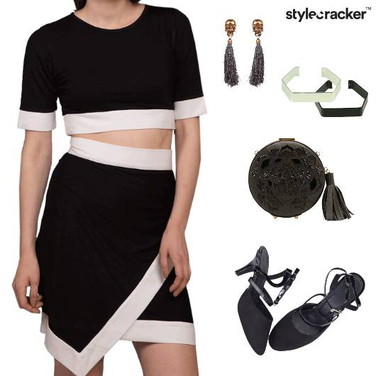 Cord Heels Clutch Bracelets Earrings Chic Rock - StyleCracker