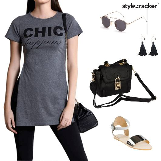 SlitShirt Slingbag Tassels Flats Sunglasses Casual  - StyleCracker