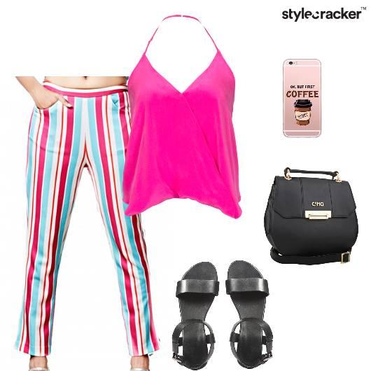 Halterneck Top Pants Flats Slingbag Lunch - StyleCracker