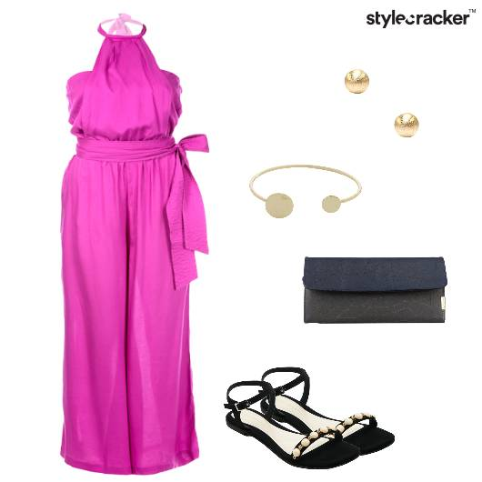 Jumpsuit Flats Clutch Studs Party - StyleCracker