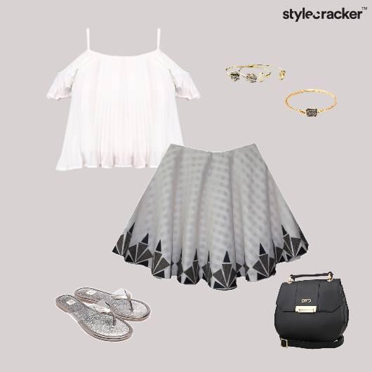 ColdShoulder Top Pleated Skirt Flats SlingBag - StyleCracker