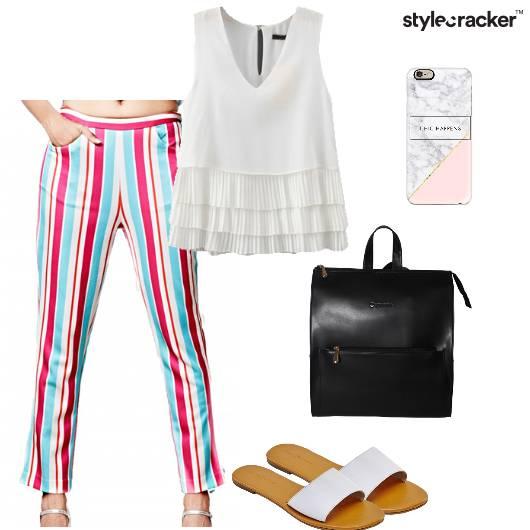 Top Pants Flats Backpack Casual Backtoschool - StyleCracker