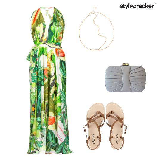 Maxidress Flats Clutch Beach Tropical - StyleCracker
