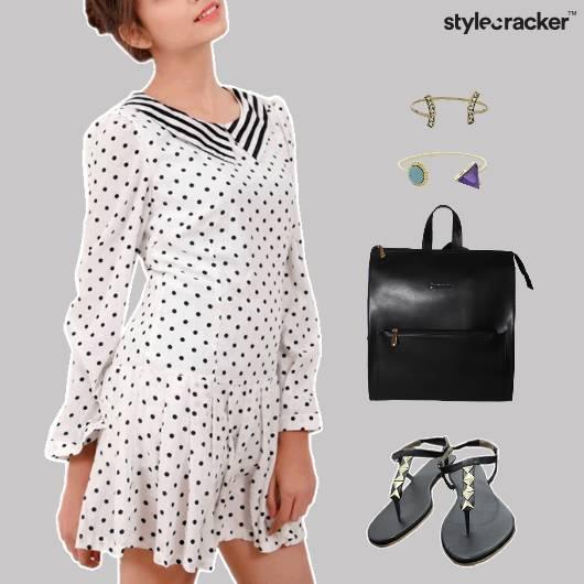 PolkaDot Dress Flats Backpack Lunch Accessories - StyleCracker