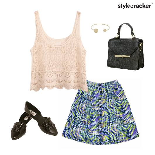 Abstract Print Skirt BalletFlats Lunch - StyleCracker
