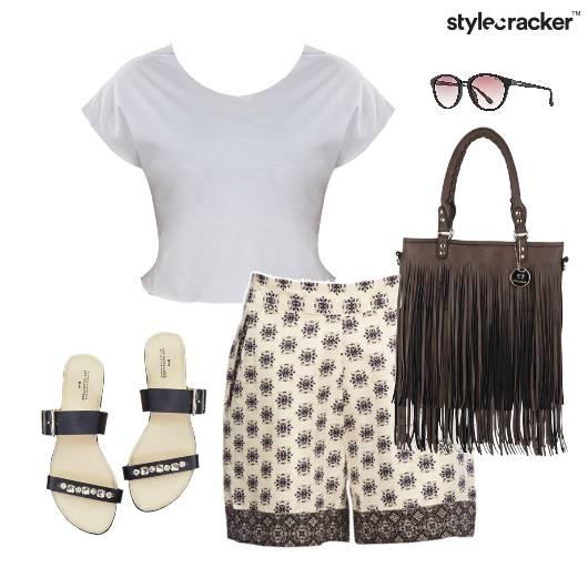 Printed Shorts CropTop Flats FringeBag - StyleCracker