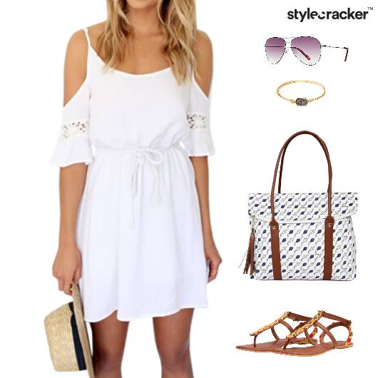 ColdShoulder Dress Flats Printed Bag Vacation - StyleCracker