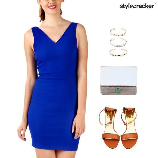 BodyCon Dress Flats Clutch Lunch - StyleCracker