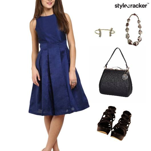 Pleated Skater Dress Accessories Lunch  - StyleCracker