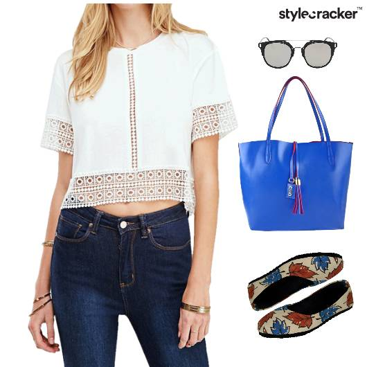 LaceTop ToteBag BalletFlats Lunch Denim - StyleCracker