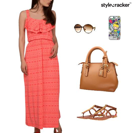 Printed Maxi Dress Flats Beach Vacation - StyleCracker