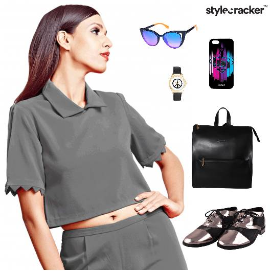 CropTop Shorts Sporty BackPack Casual  - StyleCracker