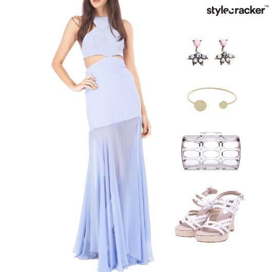 Maxi Gown Dress Wedge Footwear Clutch - StyleCracker