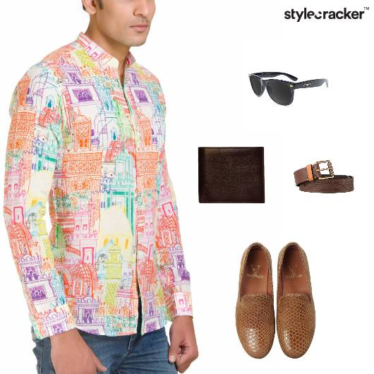 Printed Shirt Denim SlipOn Lunch - StyleCracker